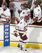 Pat Mullane (BC - 11), Chris Kreider (BC - 19), Patch Alber (BC - 27), Jimmy Hayes (BC - 10) - The Boston College Eagles defeated the visiting University of Vermont Catamounts 6-0 on Sunday, November 28, 2010, at Conte Forum in Chestnut Hill, Massachusetts.