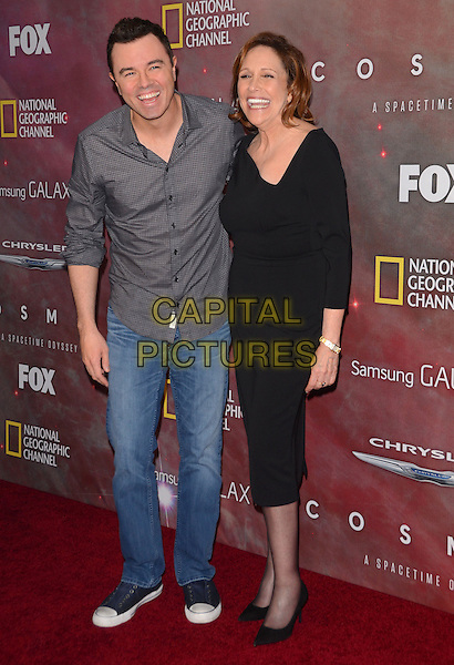 04 March 2014 - Los Angeles, California - Seth MacFarlane, Ann Druyan.  &quot;Cosmos: A Spacetime Odyssey&quot; Premiere Screening at The Greek Theater in Los Angeles. <br /> CAP/ADM/BT<br /> &copy;Birdie Thompson/AdMedia/Capital Pictures
