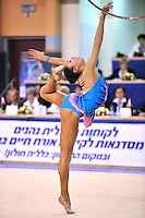 Aliya Garaeva of Azerbaijan performs with hoop during Event Finals at Holon Grand Prix, Israel on March 5, 2011.  (Photo by Tom Theobald).