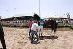 27 June 2009: Mike Smith gets a leg up on Zenyatta for the Vanity Handicap (GI) at Hollywood Park in Inglewood, CA
