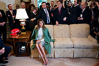 First Lady Melania Trump listens to US President Donald J. Trump and Ecuadorian President Lenin Moreno (not pictured) speak to the media in the Oval Office of the White House in Washington, DC, USA, 12 February, 2020. The President used the opportunity to double down on his criticism of the Justice Departmentís proposed sentence of Roger Stone.<br /> Credit: Jim LoScalzo / Pool via CNP/AdMedia
