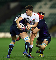 Cameron Redpath of England U20 is double-tackled. U20 Six Nations match, between England U20 and Scotland U20 on March 15, 2019 at Franklin's Gardens in Northampton, England. Photo by: Patrick Khachfe / JMP
