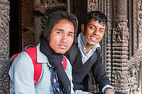 Nepal, Patan, Durbar Square.  Nepali Young Men, Age 16 and 20.