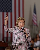 CORAL SPRINGS, FL - SEPTEMBER 30: Democratic Presidential Candidate Hillary Clinton speaks during a rally at the Coral Springs Gymnasium on September 30, 2016 in Coral Springs, Florida. Credit: mpi04/MediaPunch