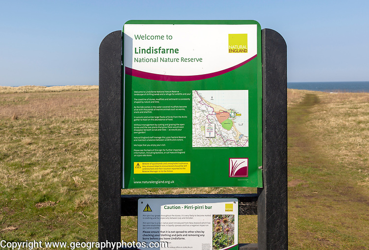 Sign for Lindisfarne National Nature Reserve, Holy Island, Northumberland, England, UK