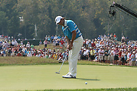 Sergio Garcia examining his putt the 7th green during the saturday afternoon fourball at The 37th Ryder cup from Valhalla Golf Club in Louisville, Kentucky....Photo: Fran Caffrey/www.golffile.ie.
