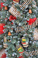 Christmas decorations on Christmas tree. Al's Nursery. Sherwood. Oregon