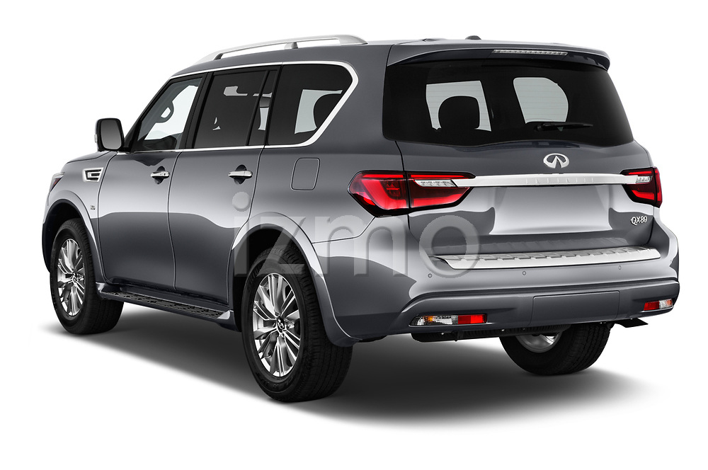 Car pictures of rear three quarter view of a 2019 Infiniti QX80 Base 5 Door SUV angular rear