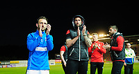 Lincoln City's Neal Eardley, left, with team-mate Ollie Palmer applaud the fans at the final whistle<br /> <br /> Photographer Chris Vaughan/CameraSport<br /> <br /> The EFL Sky Bet League Two Play Off Second Leg - Exeter City v Lincoln City - Thursday 17th May 2018 - St James Park - Exeter<br /> <br /> World Copyright &copy; 2018 CameraSport. All rights reserved. 43 Linden Ave. Countesthorpe. Leicester. England. LE8 5PG - Tel: +44 (0) 116 277 4147 - admin@camerasport.com - www.camerasport.com
