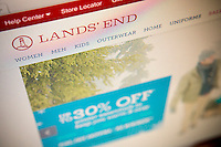 The Lands' End online shopping website is seen on a computer screen in New York on Monday, December 9, 2013. Sears Holdings Corp. announced that it plans to spin off its profitable Lands' End unit.  (© Richard B. Levine)