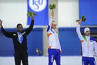 SCHAATSEN: CALGARY: Olympic Oval, 08-11-2013, Essent ISU World Cup, podium 1500m, Shani Davis (USA), Koen Verweij (NED), Kjeld Nuis (NED), ©foto Martin de Jong
