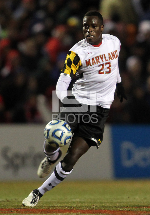 COLLEGE PARK, MD - NOVEMBER 25, 2012: Schillo Tshuma (23) of the University of Maryland  against  Coastal Carolina University during an NCAA championship third round match at Ludwig Field, in College Park, MD, on November 25. Maryland won 5-1.