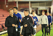 12th September 2017, Oakwell, Barnsley, England; Carabao Cup, second round, Barnsley versus Derby County; Paul Heckingbottom manager of Barnsley FC and Gary Rowett manager of Derby County share a joke