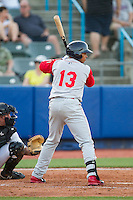 Jhoan Urena (13) of the Brooklyn Cyclones at bat against the Hudson Valley Renegades at Dutchess Stadium on June 18, 2014 in Wappingers Falls, New York.  The Cyclones defeated the Renegades 4-3 in 10 innings.  (Brian Westerholt/Four Seam Images)