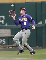 NWA Democrat-Gazette/ANDY SHUPE<br /> LSU left fielder Daniel Cabrera catches a fly ball Friday, May 10, 2019, hit by Arkansas first baseman Trevor Ezell during the first inning at Baum-Walker Stadium in Fayetteville. Visit nwadg.com/photos to see more photographs from the game.