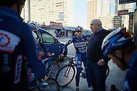 DS Hilaire Van der Schueren (BEL/Wanty-Groupe Gobert) talking to his troups pre-ride<br /> <br /> <br /> Pro Cycling Team Wanty-Groupe Gobert <br /> <br /> Pre-season Training Camp january 2016