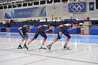SCHAATSEN: SALT LAKE CITY: Utah Olympic Oval, 14-11-2013, Essent ISU World Cup, training,Alexis Contin (FRA),  Ewen Fernandez (FRA), Benjamin Macé (FRA), ©foto Martin de Jong