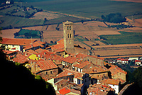 Overview of the hill town of Cortona, Tuscany, Italy