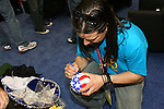 17 January 2008: Former U.S. National teamer Marcelo Balboa signs autographs in the Exhibit Hall. The 2008 National Soccer Coaches Association of America's annual convention was held at the Convention Center in Baltimore, Maryland.