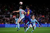 11th January 2018, Camp Nou, Barcelona, Spain; Copa del Rey football, round of 16, 2nd leg, Barcelona versus Celta Vigo; Luis Suarez of FC Barcelona fights for the ball against Sergi Gomez of Celta Vigo