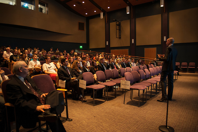 Tom De Weerdt, Vice President and Corporate Controller of Mead Johnson Nutrition, addresses students in Baker Center Theatre on Wednesday, April 8. De Weerdt spoke at Ohio University as apart of the Leadership Speaker Series.