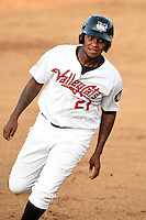 Tri-City ValleyCats outfielder / first baseman Ariel Ovando (21) running the bases during a game against the Batavia Muckdogs on August 2, 2014 at Joseph L. Bruno Stadium in Troy, New  York.  Tri-City defeated Batavia 8-4.  (Mike Janes/Four Seam Images)