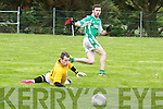 Pictured at the recent match, Clounmacon VS Ballydonoghue in Moyvane on Saturday. Ballydonoghue's Philip Moran puts the ball past Clounmacon's keeper Shane O'Sullivan for their first goal of the game.