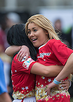 ELLIE YOUNG (IBIZA WEEKENDER) (right) & Natasha Olrog (PYT) during the SOCCER SIX Celebrity Football Event at the Queen Elizabeth Olympic Park, London, England on 26 March 2016. Photo by Andy Rowland.