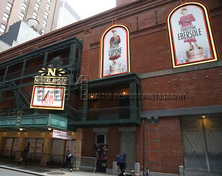 "Theatre Marquee unveiling for ""War Paint"" starring Patti LuPone and Christine Ebersole at the Nederlander Theatre on 3/31/2017 in New York City."