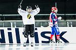 Solna 2014-03-15 Bandy SM-final Damer Kareby IS - AIK  :  <br /> AIK:s Linnea Linn&eacute;a Larsson jublar efter att ha gjort 2-1 <br /> (Foto: Kenta J&ouml;nsson) Nyckelord:  SM SM-final final dam damer Kareby AIK jubel gl&auml;dje lycka glad happy