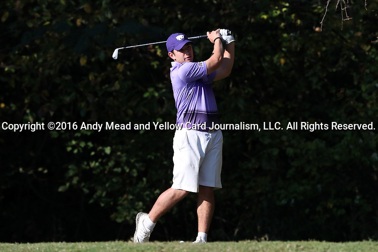 30 October 2016: Kansas State University's Levi Valadez. The First  and Second Rounds of the 2016 Bridgestone Golf Collegiate NCAA Men's Golf Tournament hosted by the University of North Carolina Greensboro Spartans was held on the West Course at the Grandover Resort in Greensboro, North Carolina.