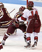 Emily Pfalzer (BC - 14), Jillian Dempsey (Harvard - 14) - The Boston College Eagles defeated the Harvard University Crimson 2-1 in the opening game of the 2013 Beanpot on Tuesday, February 5, 2013, at Matthews Arena in Boston, Massachusetts.