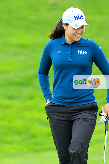 In Gee Chun (KOR) on the 13th green during Saturday's Round 3 of The 2016 Evian Championship held at Evian Resort Golf Club, Evian-les-Bains, France. 17th September 2016.<br /> Picture: Eoin Clarke | Golffile<br /> <br /> <br /> All photos usage must carry mandatory copyright credit (&copy; Golffile | Eoin Clarke)