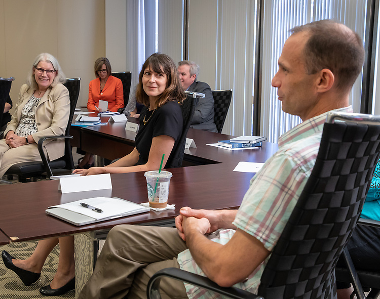 A group of 15 specially selected leaders at DePaul participate in the Leading at DePaul program, Wednesday, August 8, 2018. Leading at DePaul is a leadership development program that uses validated leadership practices combined with a Vincentian perspective and supplemented by personal experience. The pilot program began in spring 2018 and runs through July 2019. (DePaul University/Jeff Carrion)