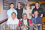 The Finalists in the Corner Bar Plate and the Tim Kelly Memorial Cup Darts final held in the Corner bar Barradubh on Friday night was front row l-r: Donal Kelly, Tim Kelly, Donie McSweeney. Back row: Edmond Kelliher, Matt Lacey, John Hill and Dan Leen..