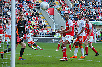 Blackpool's Daniel Agyei can't bend his shot into the corner<br /> <br /> Photographer Alex Dodd/CameraSport<br /> <br /> The EFL Sky Bet League One - Rotherham United v Blackpool - Saturday 5th May 2018 - New York Stadium - Rotherham<br /> <br /> World Copyright &copy; 2018 CameraSport. All rights reserved. 43 Linden Ave. Countesthorpe. Leicester. England. LE8 5PG - Tel: +44 (0) 116 277 4147 - admin@camerasport.com - www.camerasport.com