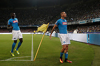 Calcio, Champions League Gruppo B: Napoli vs Benfica. Napoli, stadio San Paolo, 28 settembre 2016. <br /> Napoli's Marek Hamsik right, celebrates with teammate Kalidou Koulibaly after scoring during the Champions League Group B soccer match between Napoli and Benfica at the Naples' San Paolo stadium, 28 September 2016. Napoli won 4-2.<br /> UPDATE IMAGES PRESS/Isabella Bonotto