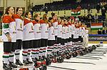 03.01.2020, BLZ Arena, Füssen / Fuessen, GER, IIHF Ice Hockey U18 Women's World Championship DIV I Group A, <br /> Daenemark (DEN) vs Ungarn (HUN), <br /> im Bild das ungarische Team singt die Nationalhymne nach Spielende<br /> <br /> Foto © nordphoto / Hafner