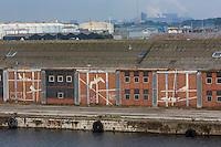 France, Nord (59),Côte d'Opale, Dunkerque: Le Port , détail des bâtiments  de la zone industrielle portuaire // France, Nord, Opal Coast, Dunkerque: retail buildings in the port industrial zone