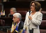 Nevada Sen. Debbie Smith, D-Sparks, speaks on the Senate floor at the Legislative Building in Carson City, Nev., on Monday, April 22, 2013. .Photo by Cathleen Allison