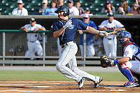 The Mobile BayBears center fielder A.J. Pollock #9 swings at a pitch during  game four of the Southern League Championship Series between the Mobile Bay Bears and the Tennessee Smokies at Smokies Park on September 18, 2011 in Kodak, Tennessee.  The BayBears won the Southern League Championship 6-4.  (Tony Farlow/Four Seam Images)