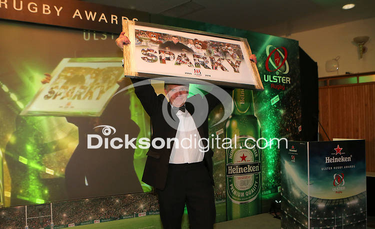 Thursday 10th May 2018 | Ulster Rugby Awards 2018<br /> <br /> A Special Recognition Award to Norman Pollock (AKA Sparky, during the 2018 Heineken Ulster Rugby Awards at La Mom Hotel, Belfast. Photo by John Dickson / DICKSONDIGITAL
