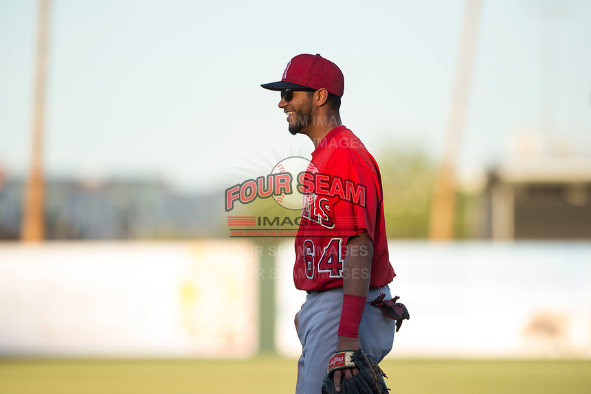 AZL Angels third baseman Bernabe Camargo (64) during an Arizona League game against the AZL Indians 2 at Tempe Diablo Stadium on June 30, 2018 in Tempe, Arizona. The AZL Indians 2 defeated the AZL Angels by a score of 13-8. (Zachary Lucy/Four Seam Images)