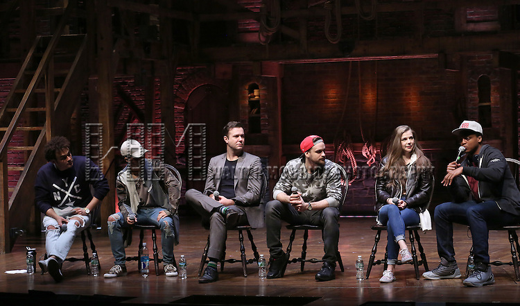 Andrew Chappelle, Jordan Fisher, Taran Killam, Neil Haskell, Eliza Ohman and J. Quinton Johnson greets students during a cast Q & A before The Rockefeller Foundation and The Gilder Lehrman Institute of American History sponsored High School student matinee performance of  'Hamilton' at the Richard Rodgers Theatre on 2/8/2017 in New York City.