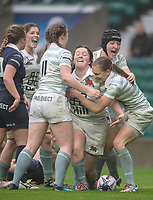 Twickenham, Surrey. UK.  Try scorer, Jess GURNENY [C] celebrates her try, with team mates, during the 2017 Women's Varsity Rugby Match, Oxford vs Cambridge Universities. RFU Stadium, Twickenham. Surrey, England.<br />