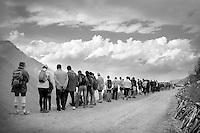 fans waiting up the dirt roads of the Colle delle Finestre (2178m)<br /> <br /> Giro d'Italia 2015<br /> stage 20: Saint Vincent - Sestriere (199km)