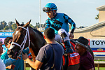 DEL MAR, CA  SEPTEMBER 2: #7 Nucky, ridden by Norberto Arroyo, Jr., returns to the connections after winning the Runhappy Del Mar Futurity (Grade l) on September 2, 2019, at Del Mar Thoroughbred Club in Del Mar, CA.( Photo by Casey Phillips/Eclipse Sportswire/CSM)