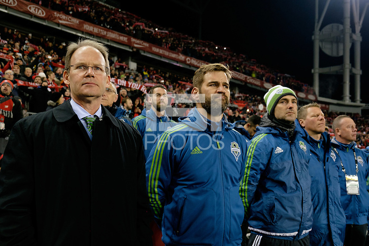 Toronto, ON, Canada - Saturday Dec. 10, 2016: Brian Schmetzer during the MLS Cup finals at BMO Field. The Seattle Sounders FC defeated Toronto FC on penalty kicks after playing a scoreless game.