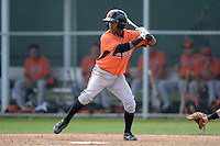 Second baseman Oscar Vasquez (6) of the Baltimore Orioles organization during a minor league spring training game against the Minnesota Twins on March 20, 2014 at Buck O'Neil Complex in Sarasota, Florida.  (Mike Janes/Four Seam Images)