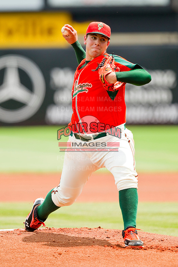 Greensboro Grasshoppers starting pitcher Jose Fernandez #16 in action against the Kannapolis Intimidators at NewBridge Bank Park on May 16, 2012 in Greensboro, North Carolina.  The Grasshoppers defeated the Intimidators 10-8 in 11 innings.  (Brian Westerholt/Four Seam Images)